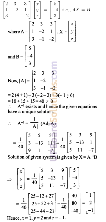 UP Board Solutions for Class 12 Maths Chapter 4 Determinants image 133
